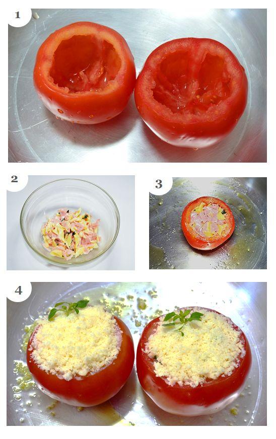 Passo a passo do tomate recheado do @pitadapalpitada