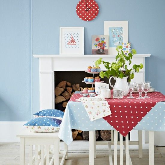 Red And Blue Polka Dot Dining Room | Dining Room Decorating | Country Homes  U0026 Interiors Part 47