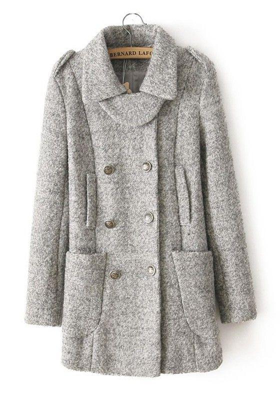 ++ Light Grey Epaulet Double Breasted Nylon Wool Coat