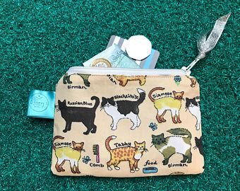 Cat purse, cute coin purse, zip pouch, gift for her, fun wallet , change purse, gadget case, mum, mom, crazy cat lady, stocking filler