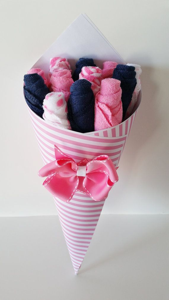 Baby Girl Washcloth Bouquet, Pregnancy Gift, Pink and Navy Washcloth Flowers, Shower Gift New Mom, Nautical Girl Baby Shower