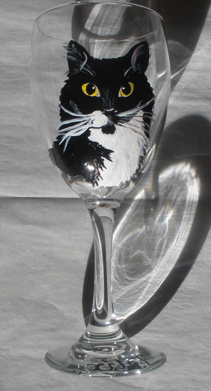 Cat glasses, cat wine glass, dog wine glass, cat wine glasses, custom wine glass, pet wine glass, gift for cat lover, handpainted wine glass by MainelyPets on Etsy https://www.etsy.com/listing/121507289/cat-glasses-cat-wine-glass-dog-wine