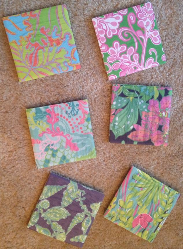 lily pulitzer coasters :)  all you need is lily paper (I took mine from old planners), some tiles and modge podge - it's that simple