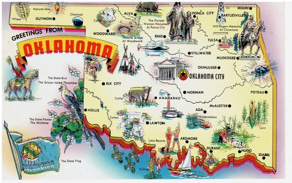 Oklahoma State Map Vintage Postcard Greetings From By - Map of the state of oklahoma