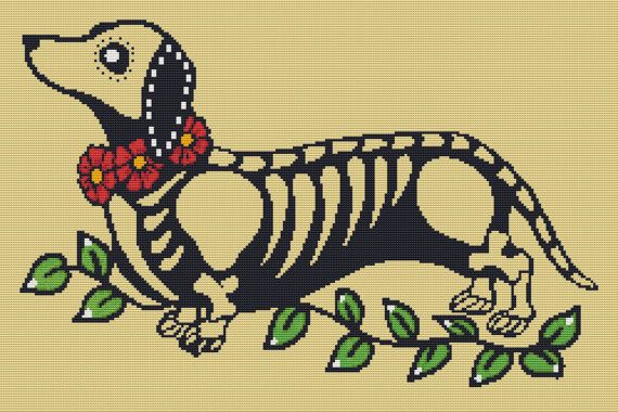 Modern Cross Stitch Kit 'Day of the Dead Dachshund' By Illustrated Ink - Dog Needle Craft Pattern with DMC Materials on Etsy, $80.00