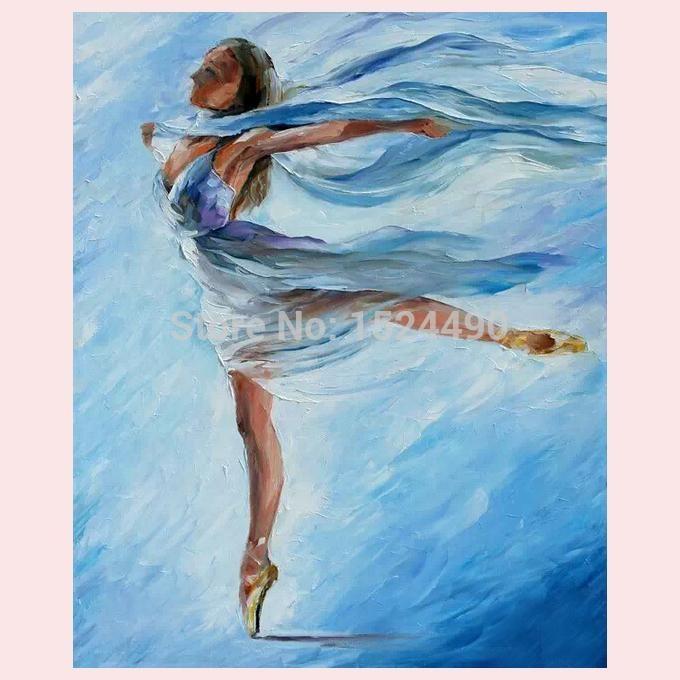 100% alta calidad hechos a mano arte moderno de la pared bailarines de Ballet espátula pintura al óleo en la lona para decoración de la pared o decoración para el hogar(China (Mainland))