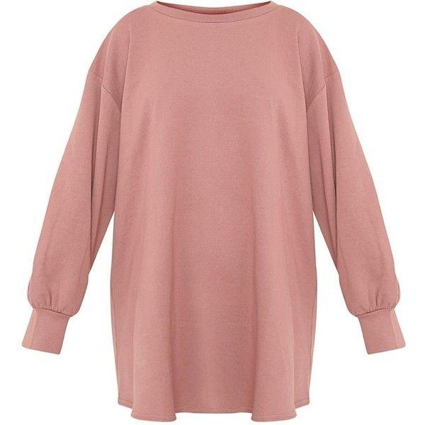 Sianna Dark Mauve Oversized Sweater Dress (495 EGP) ❤ liked on Polyvore featuring dresses, oversized dress, oversized sweater dress, dark dress, red dress and dark red dress