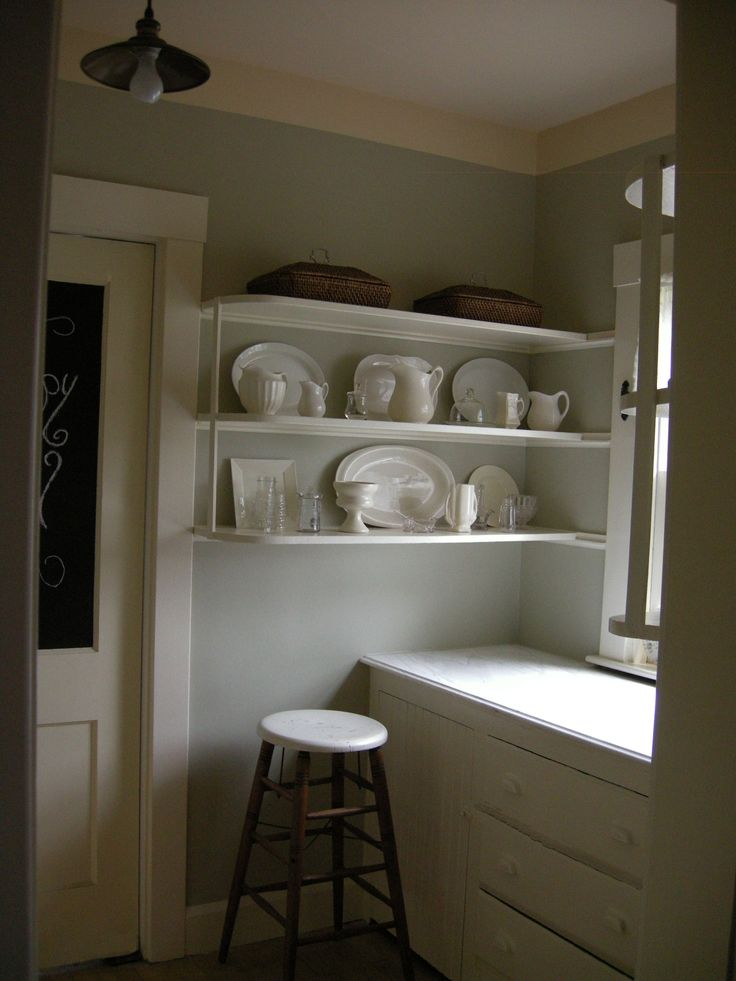 new Old Pantry, done in Benjamin Moore Camouflage, and Windsor Cream  Camouflage too dark/grey in low light?