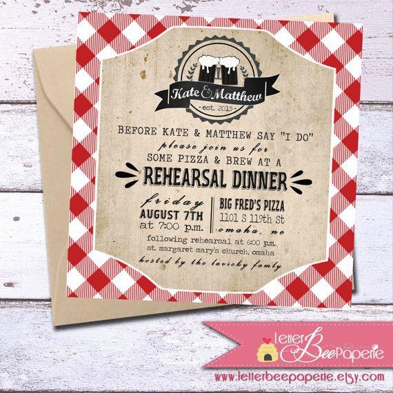 gingham rehearsal dinner invite wedding shower picnic bbq invitations engagement party