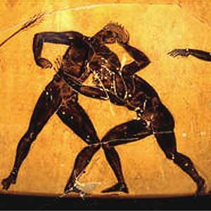 Greek wrestling was the most popular organized sport in Ancient Greece. A point was scored when one player touched the ground with his back, hip, shoulder, or tapped out due to a submission-hold or was forced out of the wrestling-area. Three points had to be scored to win the match.