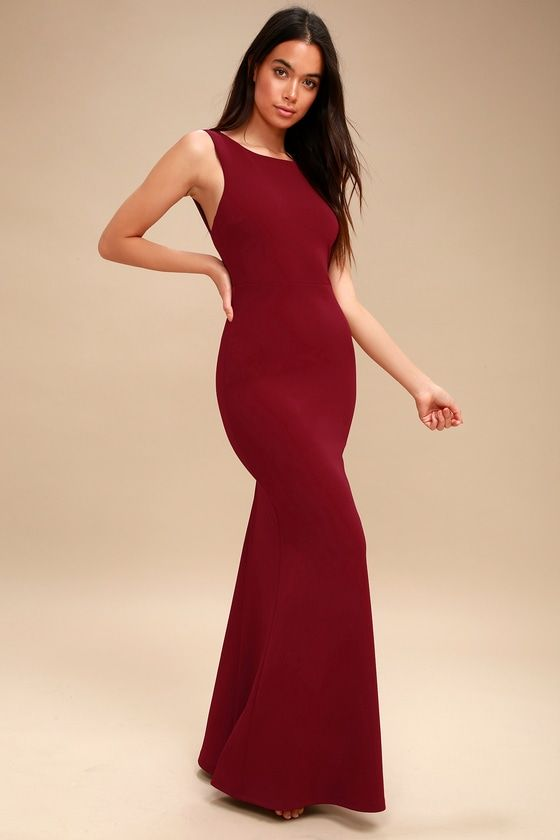 fdbcdf6e909 Give  em something to talk about in the Hollywood Boulevard Wine Red  Backless Maxi Dress! Medium-weight stretch knit forms this lovely maxi  dress with a ...