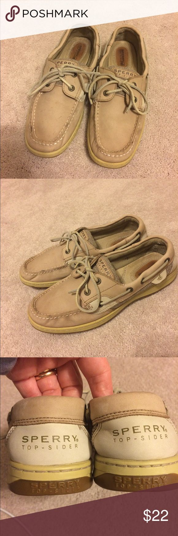 Women's Sperry Top-Siders sz. 8 1/2 A casual and comfy pair of women's Sperry Top-Siders is for sale. Their neutral colors will go with any outfit. They are in very good condition. Size 8 1/2. Feel free to ask questions if you have any. Thanks for looking! Sperry Shoes Flats & Loafers