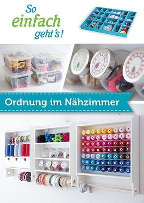 Schaffe Ordnung in deinem Nähzimmer mit praktischen Regalen, Garnrollenhalter und Aufbewahrungsboxen für Knöpfe und Webbänder