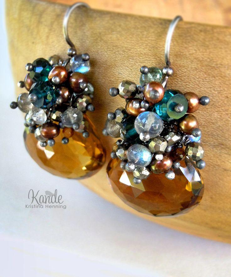 Fall Cluster Earrings Gemstone Dangle Brown Peacock Teal Silver Wire Wrap Autumn Fashion Kande Labradorite Pearl Whiskey Quartz Bronze. $138.00, via Etsy.