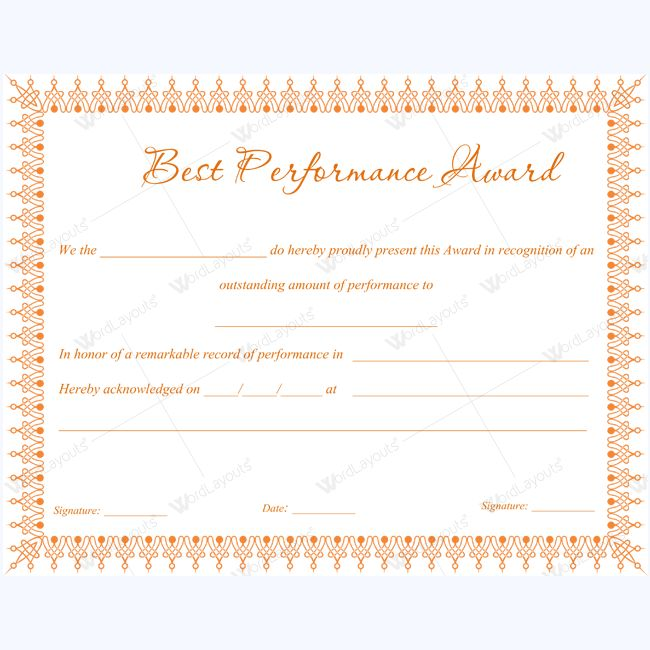 Best Performance Award #bestperformancecertificate - award certificates templates