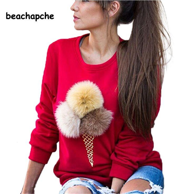 2016 Autumn Sweatshirt Women Colorful ice cream Plush Ball Longsleeve O-neck Causal Tracksuit Ladies Bts Women Hoodies
