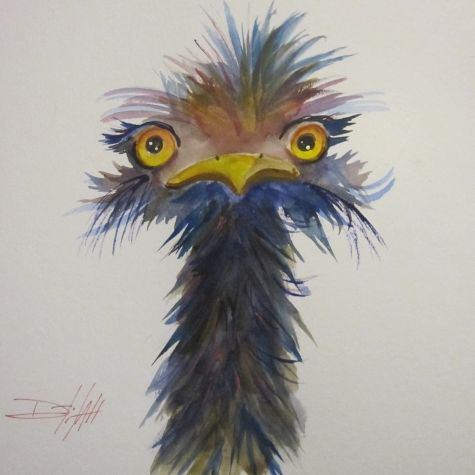 Long Neck Ostrich Painting By Artist Delilah Smith Duck