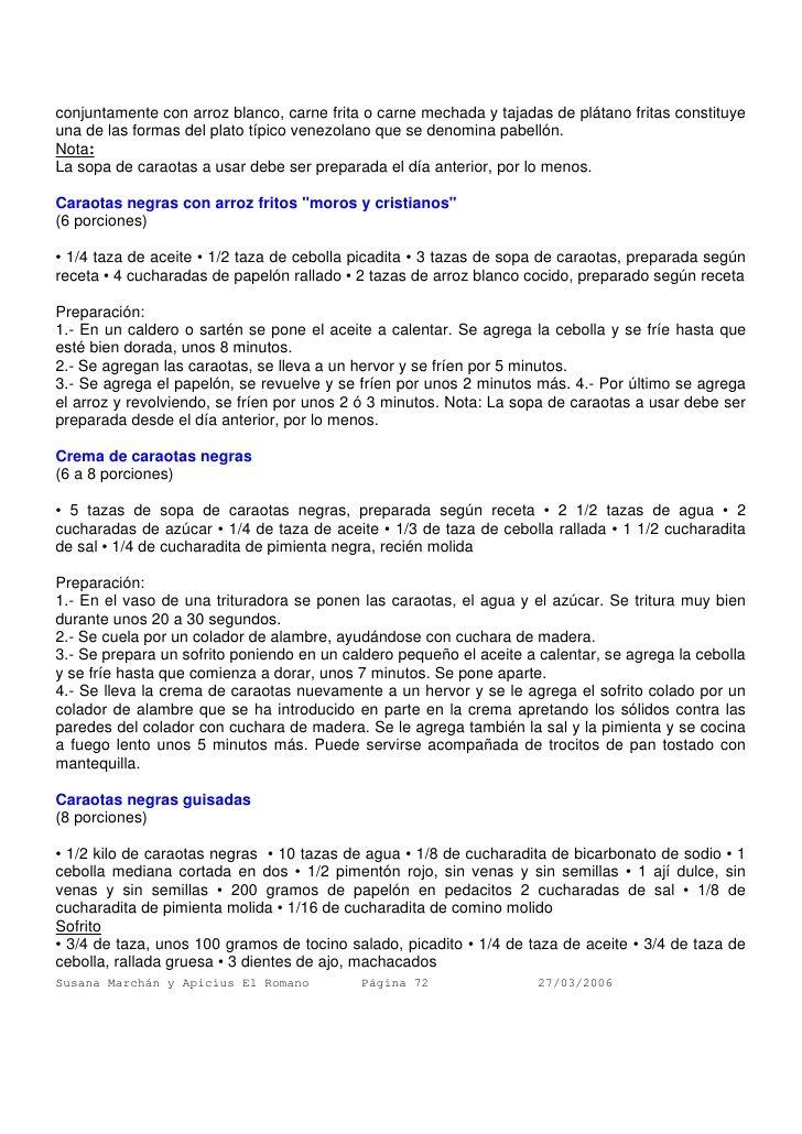 viene,CARAOTAS NEGRITAS FRITAS Parte II, CREMA de caraotas negras, CARAOTAS negras guisadas Parte I  /  armando-scannone-recopilacin-de-recetas-72-728.jpg (728×1030)