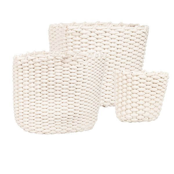 Set of 3 baskets.  Large - 46x46x38cm Medium - 41x41x35cm Small - 23x23x20cm  Once your order is placed you will be sent a quote for shipping.