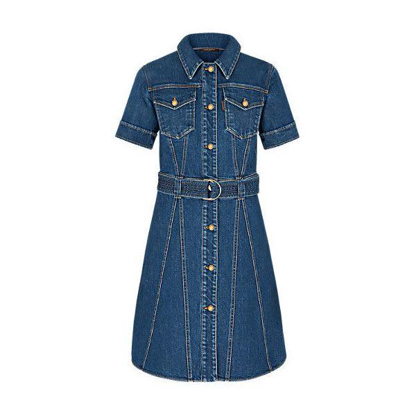 Stonewashed Denim Shirt Dress ($1,800) ❤ liked on Polyvore featuring dresses, denim dresses, blue dress, short sleeve denim dress, long shirt dress and short sleeve dress