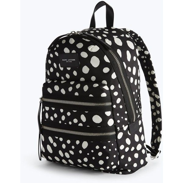 Spot Printed Biker Backpack Marc Jacobs (215 CHF) ❤ liked on Polyvore featuring bags, backpacks, marc jacobs backpack, day pack backpack, rucksack bags, polka dot bag and polka dot backpacks