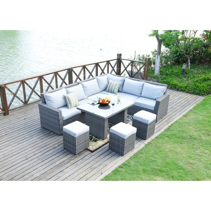 Outten 8 Piece Sectional Seating Group With Cushions Patio Sofa Set Wicker Dining Tables Sectional Patio Furniture