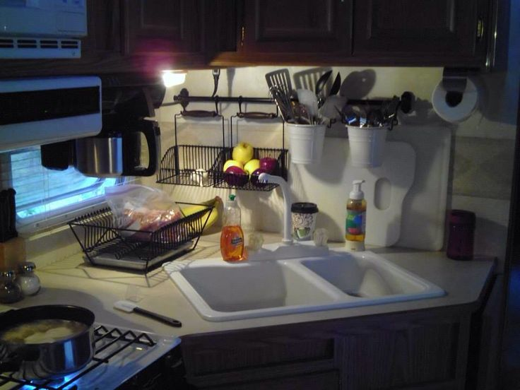 Fifth wheel kitchen with IKEA accessories to free up counter space!