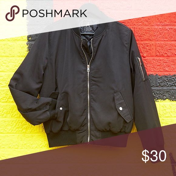 Primark black bomber jacket This bomber jacket is so dope! Really great quality bomber jacket, it's thick and warm and fits well. Worn less than twice. Basically new condition. Won't be able to shop for another week! Jackets & Coats