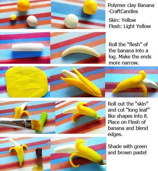 Polymer Clay : Banana Tutorial by CraftCandies.deviantart.com on @deviantART