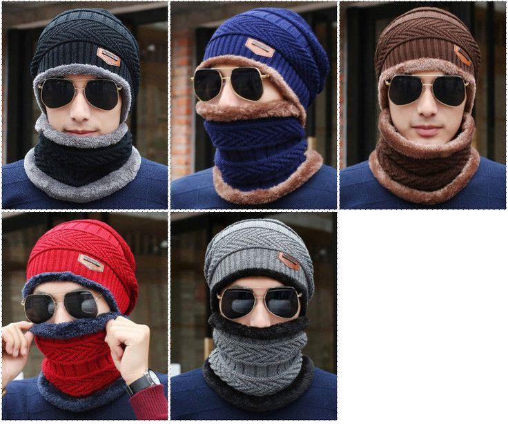 Knit Mens Winter Hats Caps Beanies  Skullies Bonnet For Men Women Neck Warmer  #Unbranded #Beanie