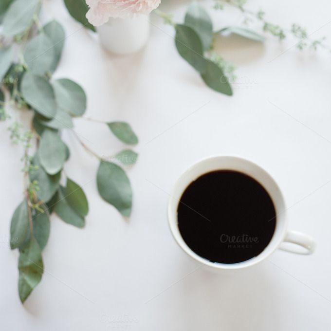 Coffee Stock Image   White Backdrop by TwigyPosts on Creative Market