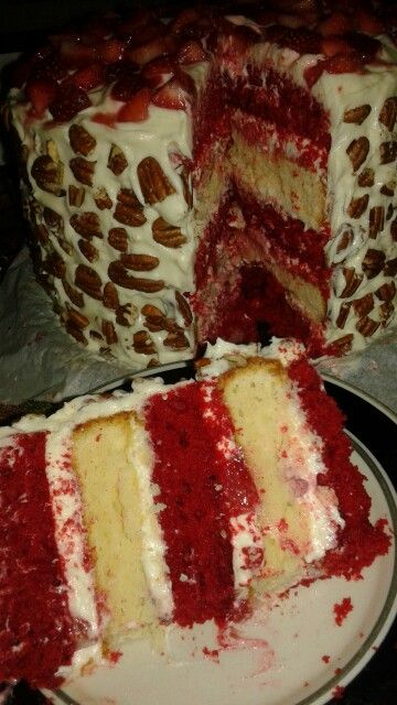 Moist And Tasty Strawberry Cake With Cream Cheese Icing