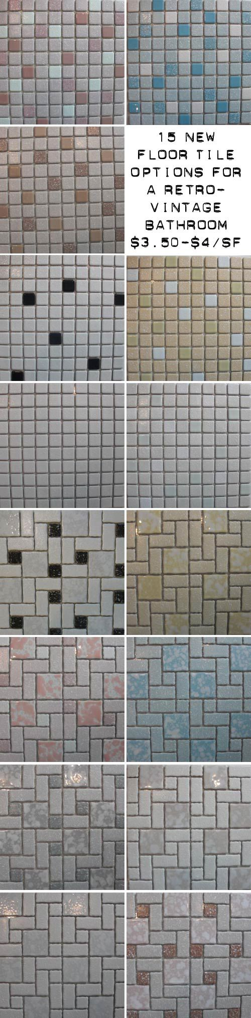 We discovered a bunch of new retro floor tile options -- lots of colorful small mosaics -- and the price is right -- $3.50 and $4 per square foot!