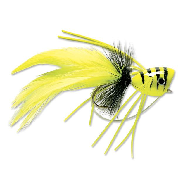 The Bass Popper Fly is a popular pattern amongst bass fly fishermen, perfect for largemouth or smallmouth bass.  In yellow/red, chartreuse, frog, red/white, black.  <br />Sizes 1/0, 6.