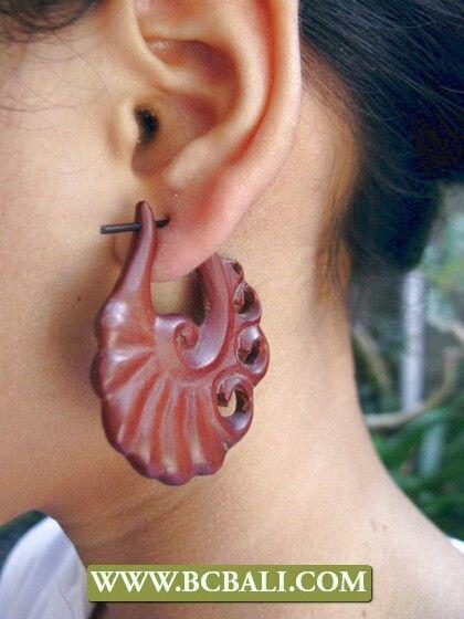 Women wooden earring carving