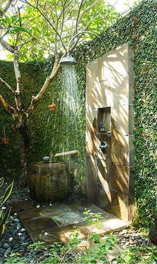 Would love to have this outdoor shower secluded by greens & trees