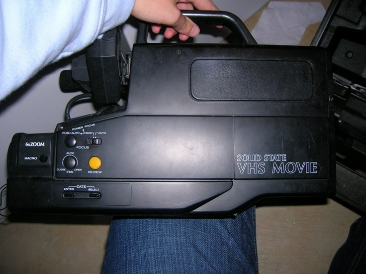 VHS Camcorder I can remember carring this ginormous this around on my shoulder looking through that lens that practice cover your whole eyeball lol! Memories