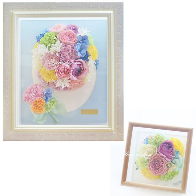 ミックスカラーのブーケを保存加工させていただきました✨ Mサイズ額にラウンドブーケとブートニアを再現、プチサイズ額にもコロンと小さくデザインしています(*^-^*) サムシングブルーのお花を含めた幸せいろのカラフルなお花たちを見ていると、ウェディングシーンのワクワクがよみがえりますね  #フルールクルール  http://www.fleurcouleur-d.com/ ✉sport20@paw.hi-ho.ne.jp  挙式後のお申込みもOK!  すでにブーケがお手元にある方、お急ぎの方は直接お電話ください✨  TEL:082-961-3007  #ブ�