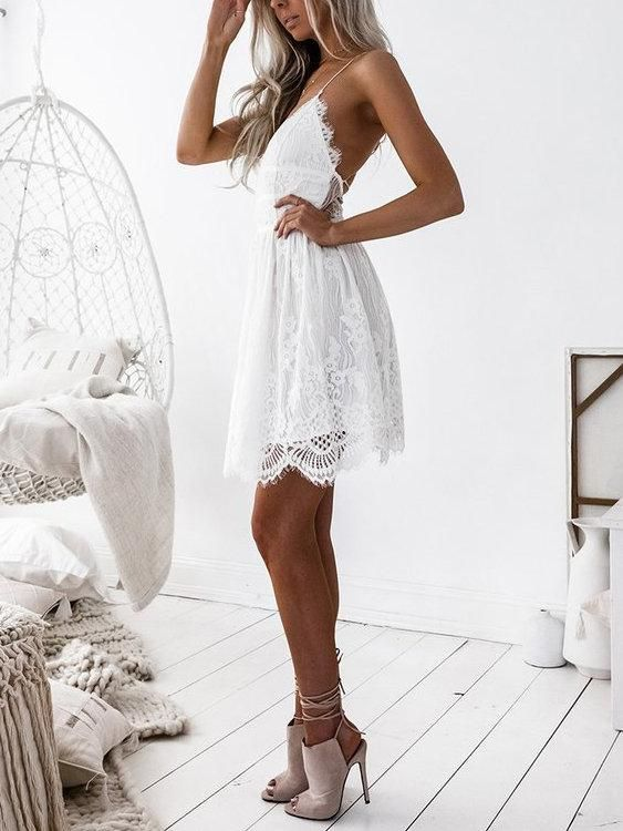 f289abd133 White Lowcout V-neck Criss-cross Back Delicate Lace Slip Mini Dresses