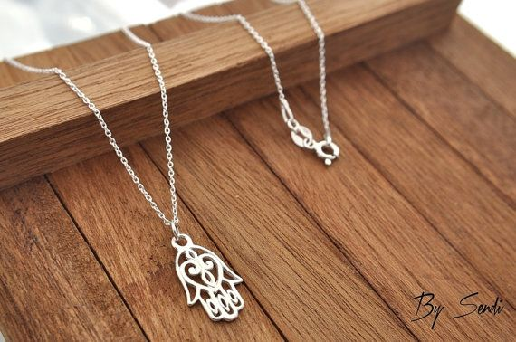 Sterling Silver Hamsa necklace, Hamsa necklace, Hamsa pendant, silver Hamsa hand pendant, Hamsa Hand hand amulet, Hand Fatima, Hand Buddha