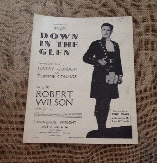 A personal favorite from my Etsy shop https://www.etsy.com/listing/237915060/vintage-sheet-music-down-in-the-glen-by