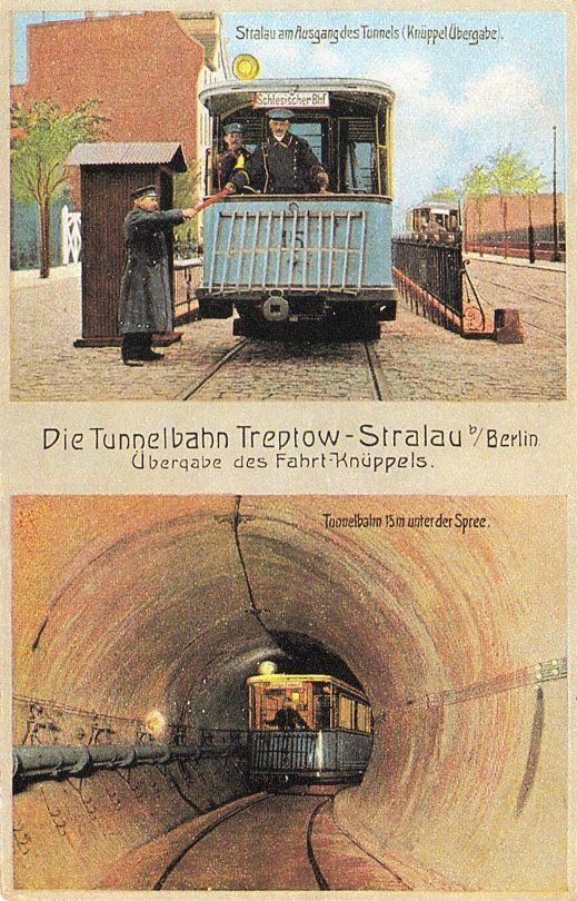 Postkarte, Berlin, Tunnelbahn Treptow-Stralau, um 1905..