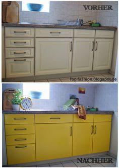 Notfalllösung für die Mietküche: Mit Wachstuch/Tischdecke überzogen, Innen einfach mit Packetklebeband fixiert