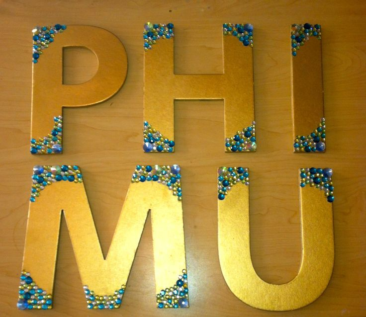 Phi Mu Gold & Gem Wooden Sorority Letters