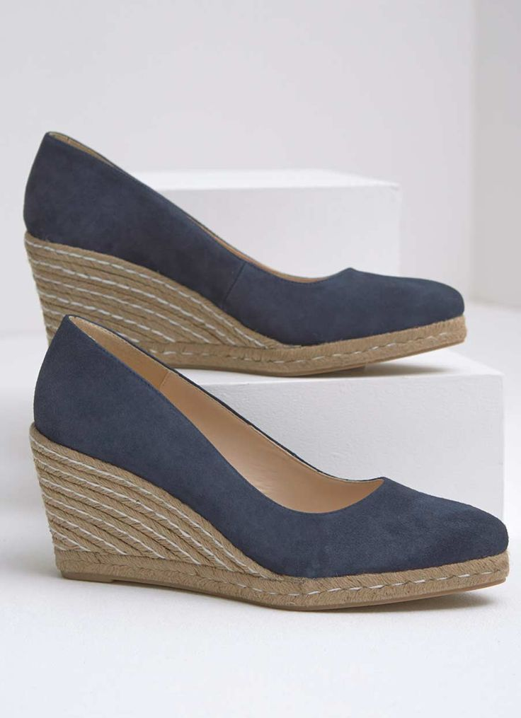 Stand out in the crowd in these navy suede pointed wedges. These shoes will become your go to choice for the season ahead. Available in sizes 3-8. The heel height measures 8.5cm/3.5in.
