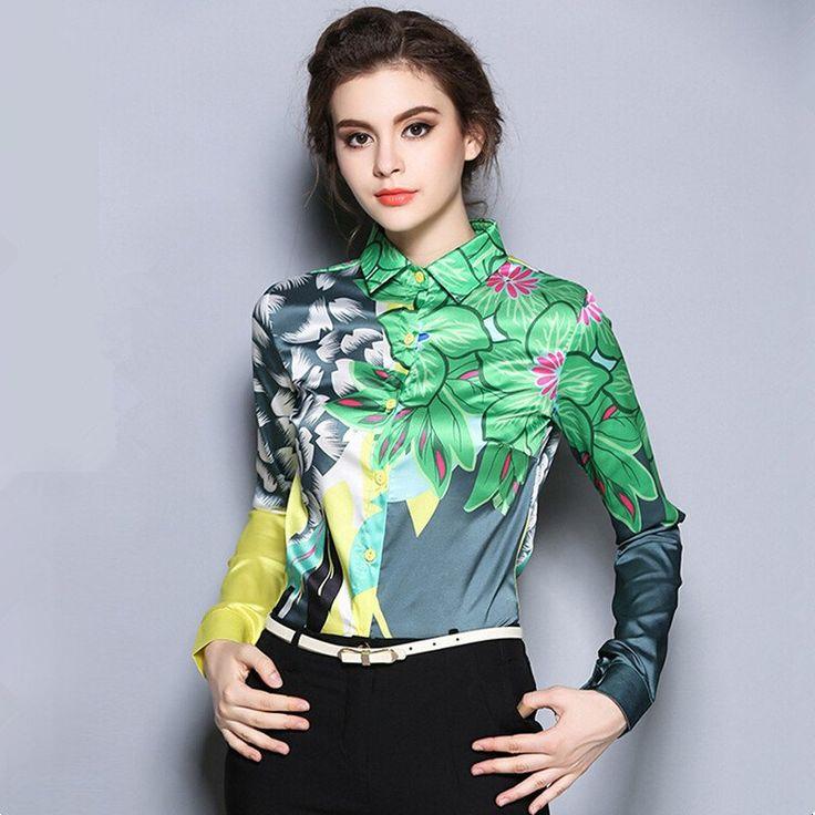 Elegant Women Print Floral And Leaves Chiffon Blouses Shirt