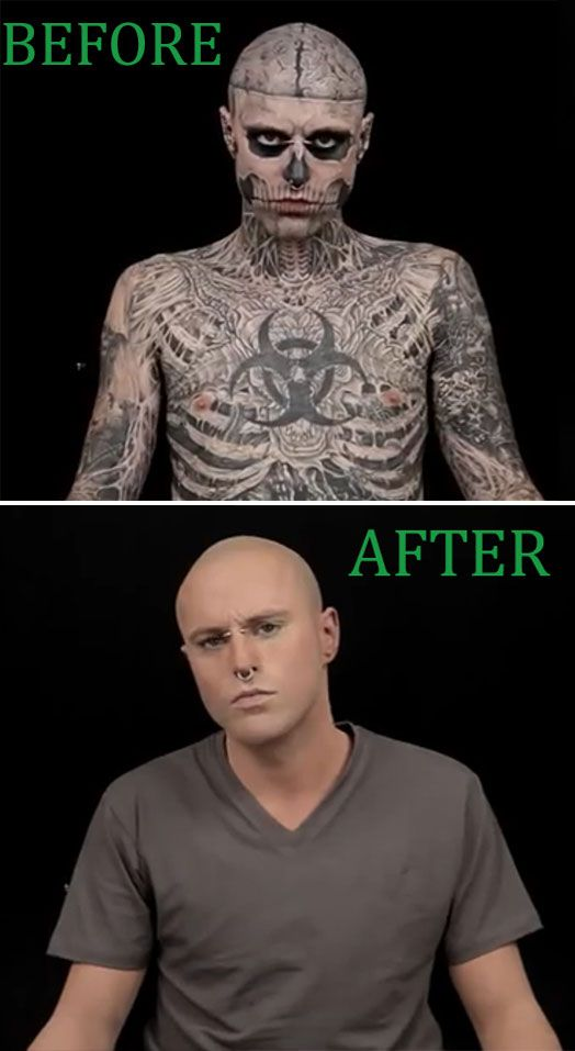 a mans transformation after tattooing Erik sprague (born june 12, 1972), better known as the lizardman, is an american freak show and sideshow performer, best known for his body modification, including his sharpened teeth, full-body tattoo of green scales, bifurcated tongue, subdermal implants and recently, green-inked lips rumors that he hoped to get a tail transplant have been.