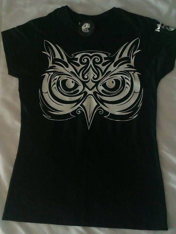 Women's Ladies Graphic Tribal T/Shirt (Tribal Owl) - Tribal - Tribal Tee - Tribal style - Tribal wear - Tattoo graphic - Tribal graphic