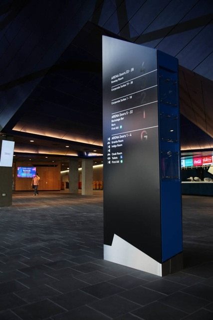 Perth Arena Direction sign programme designed by Sam Morel Design & Robert Luxford Vivid Communication.