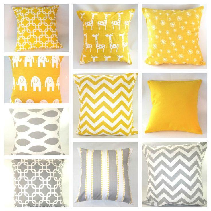"Pillows Home Decor Decorative Pillow Covers Baby Nursery Kids Bedroom Yellow Gray Giraffes Elephants Chevron Ikat 18"" x 18"" Set Of Any 2. $32.00, via Etsy."